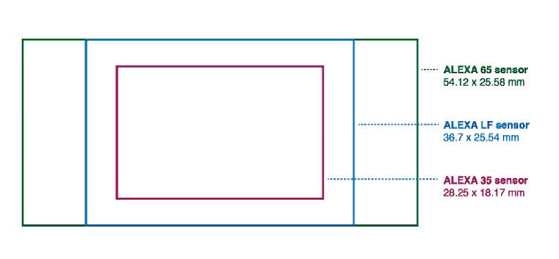 Différences dans la taille des capteurs (source : ARRI)