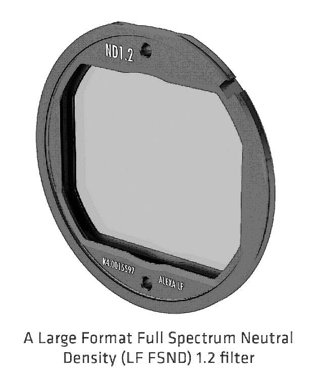 Filtre 1.2 du filtre de densité neutre à spectre complet grand format (LF FSND) (source : ARRI)