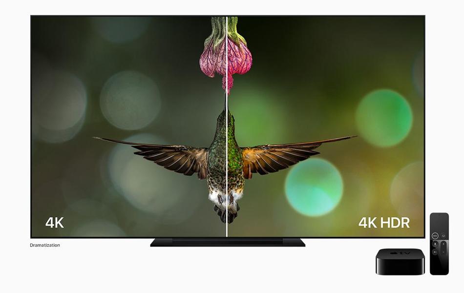 Comparaison des technologies 4K et 4K HDR (source : Apple)