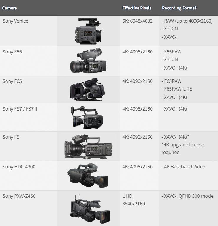 Caméras approuvées par Netflix - Sony (source : Netflix)